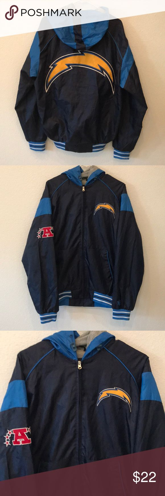 NFL Los Angles Chargers Zip Up Jacket Size M NFL Los Angeles Chargers Zip Up Jacket Size Medium, Used a couple of times. 🎄WILL SHIP IN ONE DAY🎄All bundles of 2 or more receive 20% off. Closet full of new, used and vintage Vans, Skate and surf companies, jewelry, phone cases, shoes and more. NFL Jackets & Coats