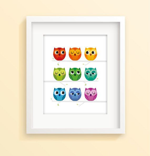 Hey, I found this really awesome Etsy listing at https://www.etsy.com/listing/217063415/rainbow-owls-nursery-print-nursery-decor
