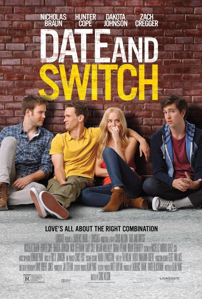 US poster art, Zach Cregger, Hunter Cope, Dakota Johnson, Nicholas Braun, 2014 | Essential Gay Themed Films To Watch, Date and Switch http://gay-themed-films.com/watch-date-and-switch/