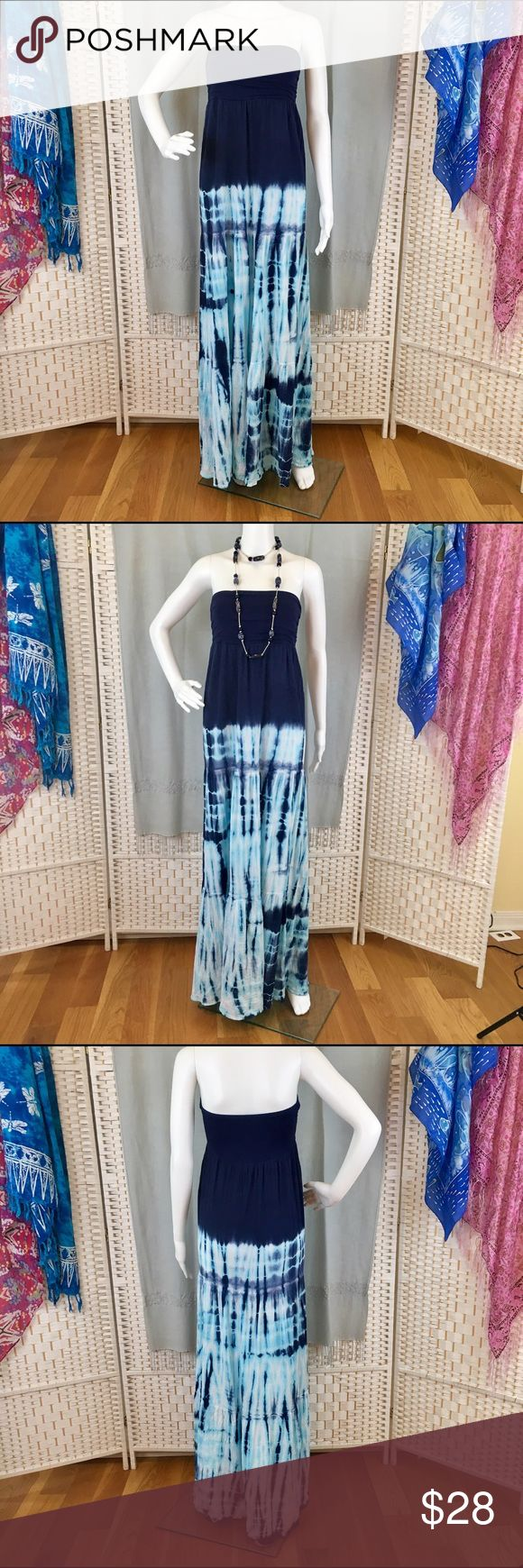 Chatoyant Tie Dye Maxi Dress Easy slip on maxi dress. Navy blue at top, aqua blue tie dye below. Worn once. EUC, Chatoyant Dresses Maxi