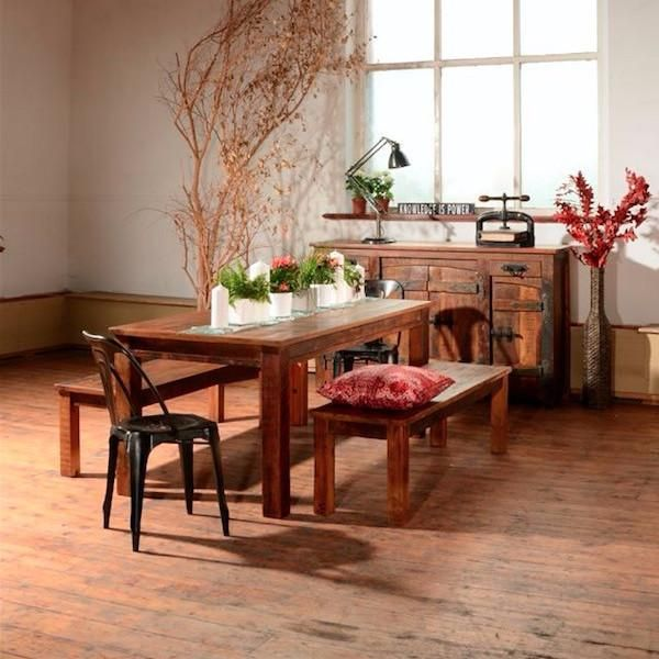 Rustica Reclaimed Wood Dining Table, Benches And Sideboard