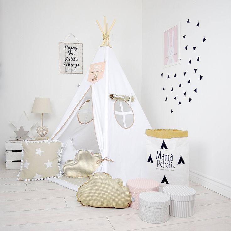 Childrens teepee, White Teepee Tent, Playtent, Tipi, Zelt, Wigwam, Kids Teepee, Tent, Play Teepee, Beige Tent, Girl's Teepee,  Reading Lamp