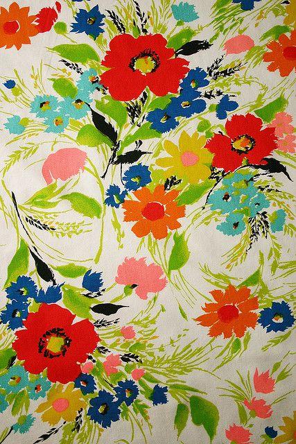 60s summer floral vintage fabric