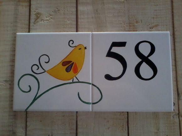 Número de casa em azulejo, pintado a mão 30 x 15 cm. R$ 75,00