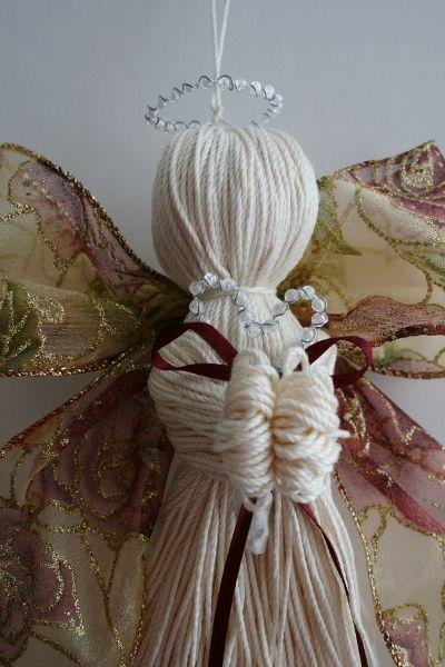 Crochet thread and ribbon angel 4