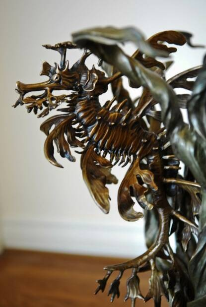 'HIDDEN WITHIN' Bronze leafy sea dragon sculpture only.   By Kirk McGuire