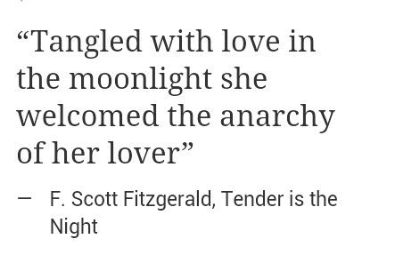 """""""she welcomed the anarchy of her lover"""" -F. Scott Fitzgerald"""