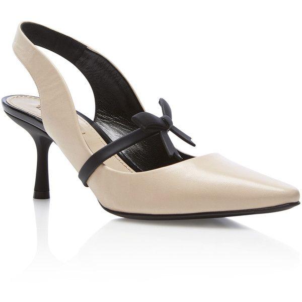 Mille Deneuve Kitten Heel | Moda Operandi ($770) via Polyvore featuring shoes, pumps, leather shoes, leather pumps, bow pumps, leather footwear and kitten heel pumps