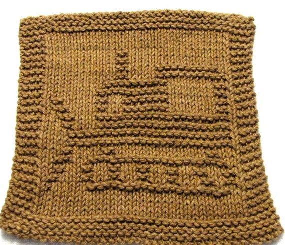 Knitting Pattern BULLDOZER Washcloth PDF by ezcareknits, $2.85