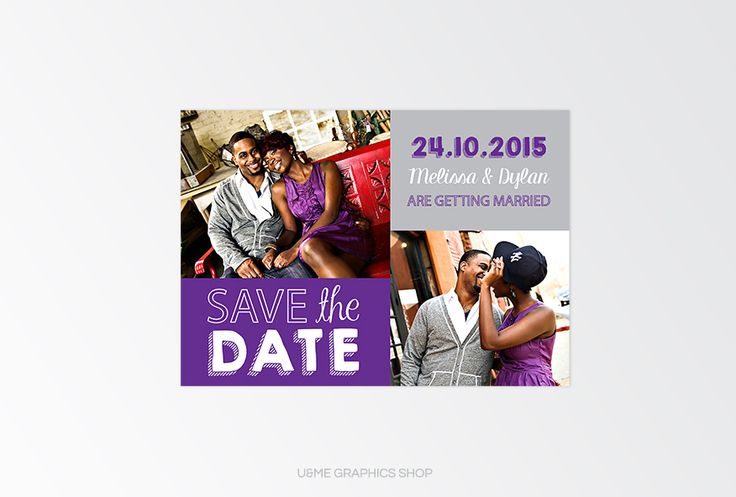 Save The Date Card Cape Town South Africa - U&Me Graphics Shop | Purple photo save the date card