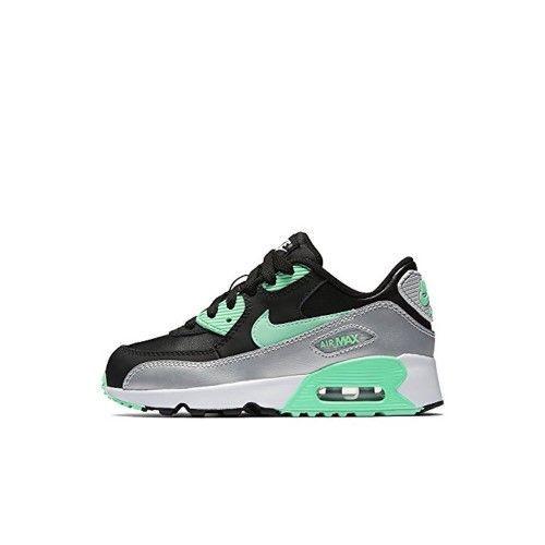 Nike Air Max 90 (PS) Little Kids Running Shoe Black/green Glow-mtlc Platinum-11.5, Boy's, Size: 11.5 M Little Kids