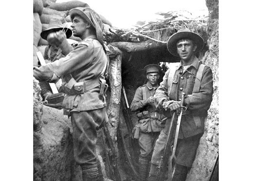 Australian soldiers in a captured Turkish trench at Lone Pine on 6 August 1915. The man on the left is Captain Cecil Sasse, 1st Battalion (New South Wales), of Sydney, New South Wales. In the initial attack at Lone Pine at 5.30 pm on 6 August 1915, the 1st Battalion was in reserve and the enemy trenches were rushed by the other infantry units of the 1st Brigade - the 2nd, 3rd and 4th Battalions. Elements of the 1st Battalion were called forward into the captured trenches at about 6.20 pm and…