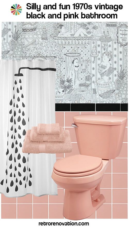 15 designs to decorate a pink and black bathroom - Retro Renovation