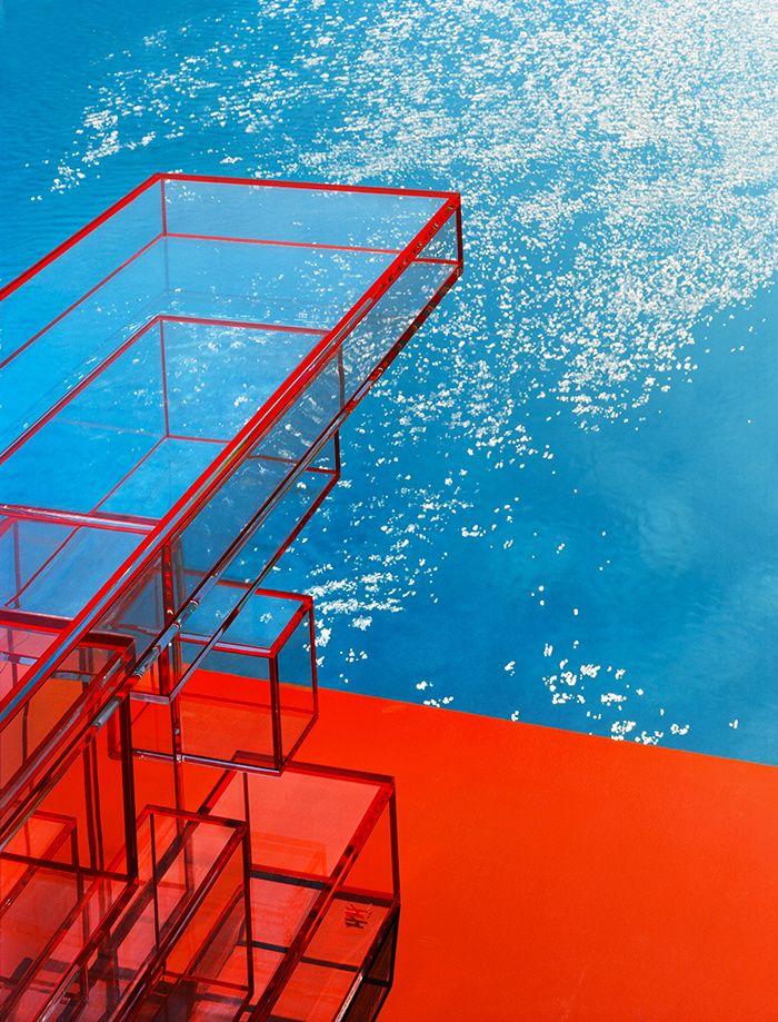 L'été indien - ROUGE VIF. Console Propagation, galerie Hervé Van der Straeten. Au sol, émulsion acrylique mate Atomic Red (Little Greene).