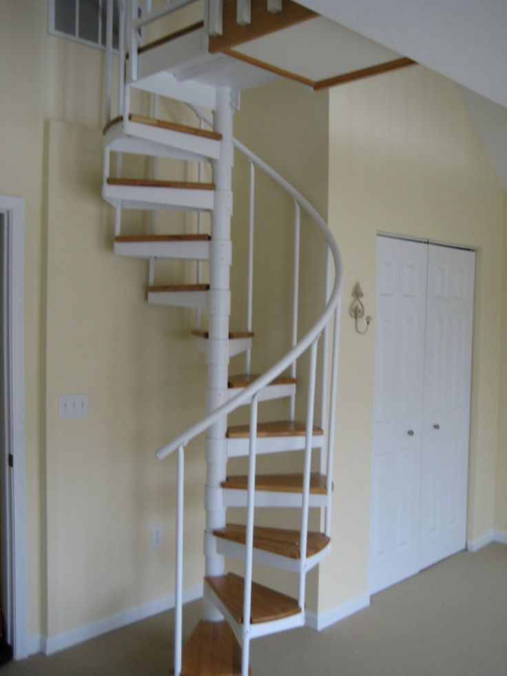 Stair Box In Bedroom: Home Design, Spectacular White Metal Spiral With Wooden