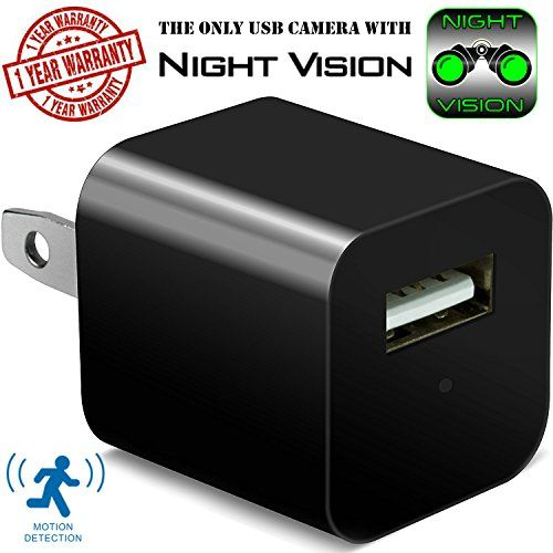 Night Vision Hidden Security Camera USB Wall Charger - Motion Detection Phone Charger Spy Camera with Infrared - Nanny Spy Camera Adapter 1080 Full HD - Support Up To 32GB SD Memory Card - Looks like an ordinary USB wall charger, but this USB Wall Charger Hidden Spy Camera features a hidden FULL HD camera allowing you to capture clear video DAY or NIGHT. This mini phone charger hidden camera doesn't require special set up, Just plug it and it works, When camera sensor detect ...