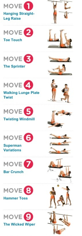 Women's health workout http://www.womenshealthmag.com/fitness/hanging-straight-leg-raise?workout=8898