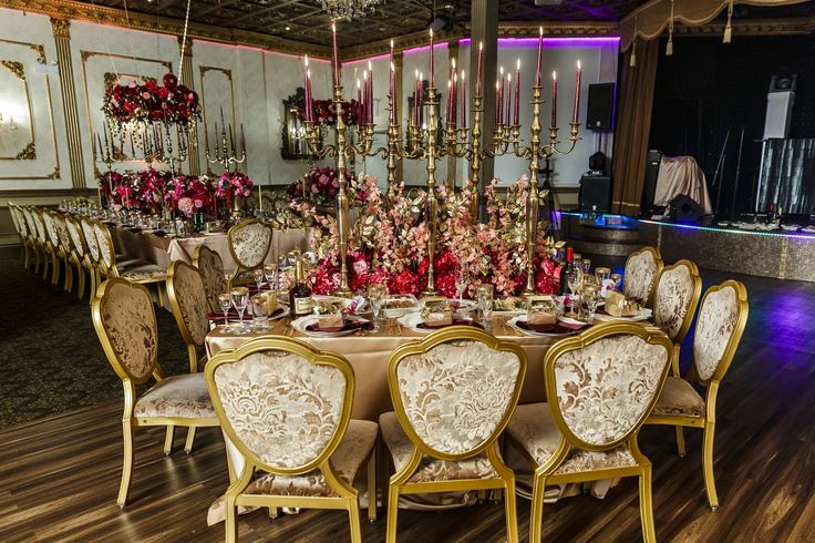 Luxurious Dolce & Gabbana inspired Wedding design hanging flowers decor pink & red gold #beautiful