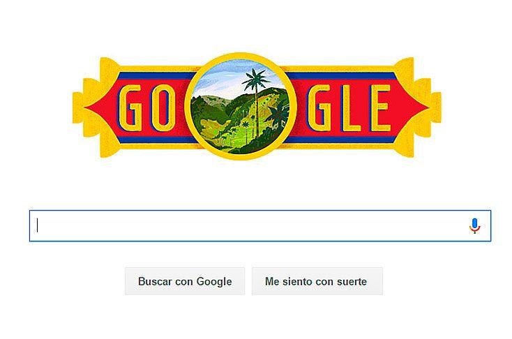 """20 JUL 2016   GOOGLE: INDEPENDENCIA DE COLOMBIA """"Google cambió su imagen para conmemorar la Independencia de Colombia"""". Este año el buscador más popular de internet le dedicó su diseño al Valle del Cocora, en el departamento del Quindío."""