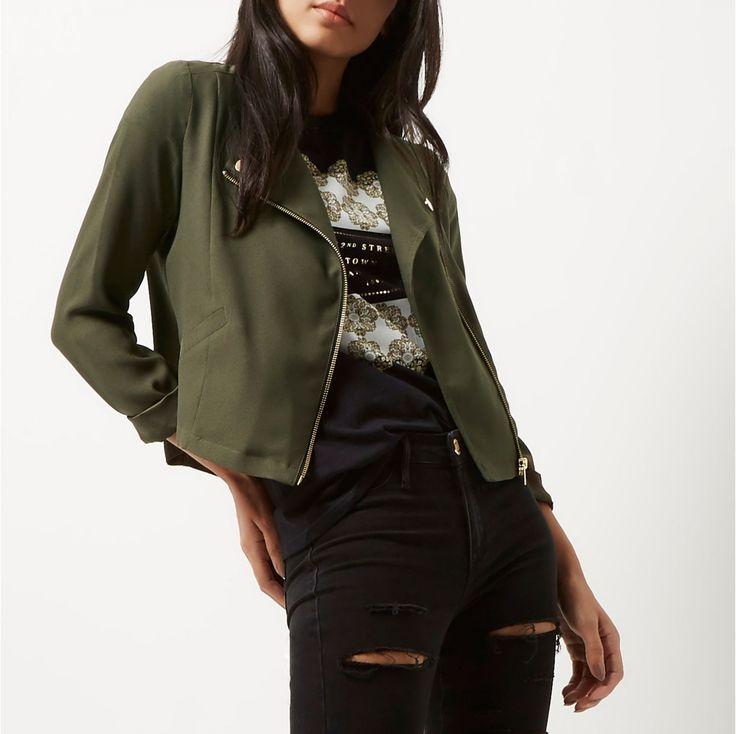 Khaki Biker Jacket Marimi Mari - Just Arrived - IMBRACAMINTE - FEMEI