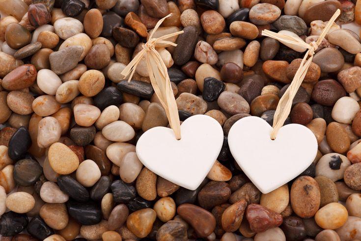Corações em seixos