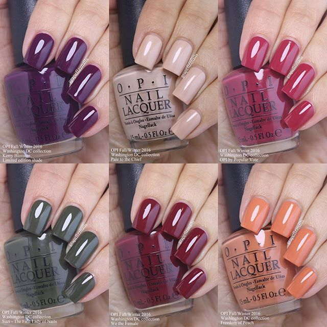 The last 6 polishes in the new #OPI Washington DC Collection. Kerry Blossom, Pale to the Chief, OPI by Popular Vote, Suzi - The First Lady of Nails, We the Female and Freedom of Peach. I have all the for this collection!!