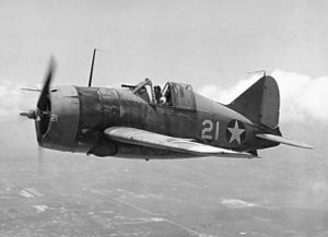 The Brewster F2A Buffalo was an American fighter aircraft which saw limited service early in World War II. It was one of the first U.S. WWII Monoplanes with an arrestor hook and other modifications for aircraft carriers. It usually had an open canopy. Though the Buffalo won a competition against the Grumman F4F Wildcat in 1939 to become the US Navy's first monoplane fighter aircraft, 1937   wem
