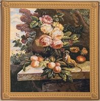 Monkey In Still Life II Belgian Wall Tapestry W-5330, 30-39Inchestall, 30-39Incheswide, 37W, 39H, Belgian, Border, Floral, Flowers, Fruit, Gold, Grapes, Group, Ii, In, Life, Monkey, Square, Still, Tapestry, Wall, Yellow, Belgianwoven, Europeanwoven, tapestries, tapestrys, hangings, and, the