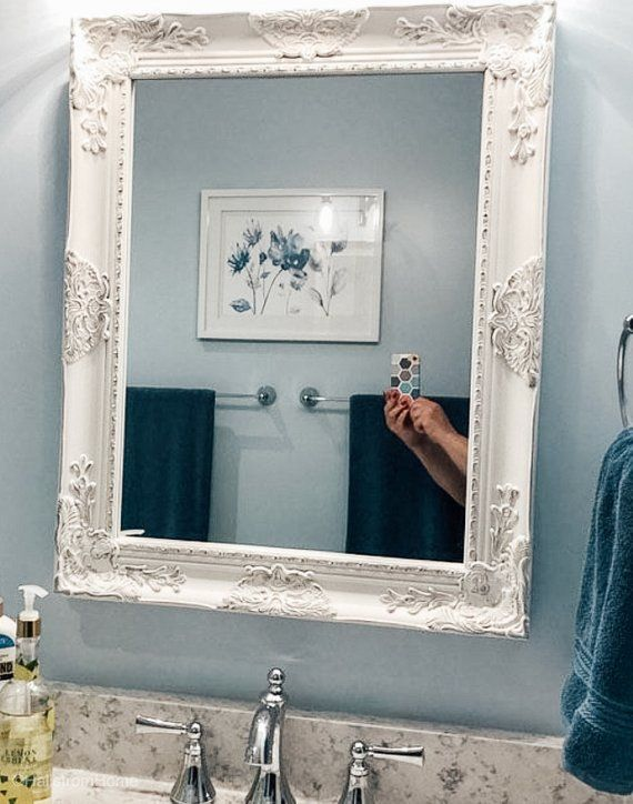 Blue Farmhouse Decor Antique Vanity Mirror French Country Shabby