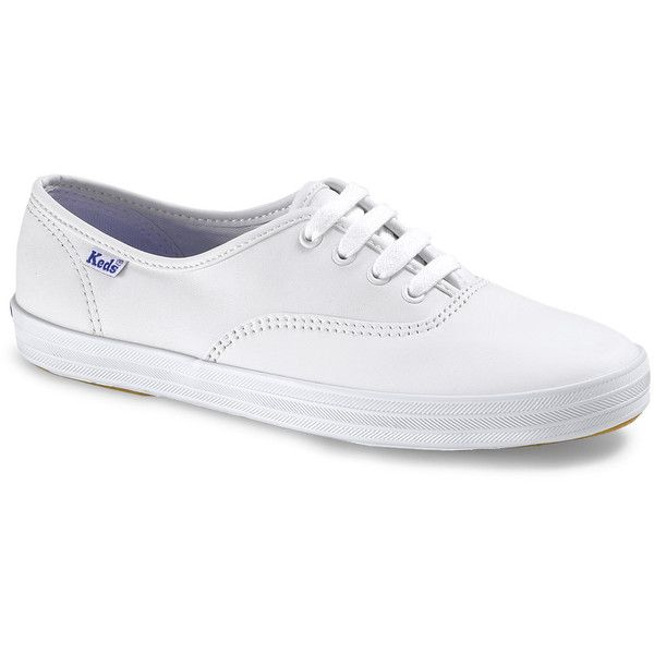 Keds CHAMPION ORIGINALS LEATHER ($50) ❤ liked on Polyvore featuring shoes, sneakers, white, zapatos, sapatos, keds shoes, genuine leather shoes, white trainers, white leather shoes and leather trainers