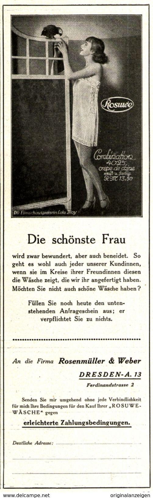 Werbung - Original-Werbung/ Anzeige 1926 - ROSUWE WÄSCHE / ROSENMÜLLER & WEBER - DRESDEN - ca. 65 x 220 mm