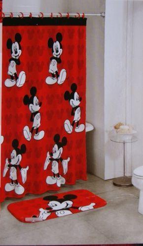 Bath Set Disney Mickey Mouse 14 Piece Kids Bathroom Bath Rug Shower Curtain  New