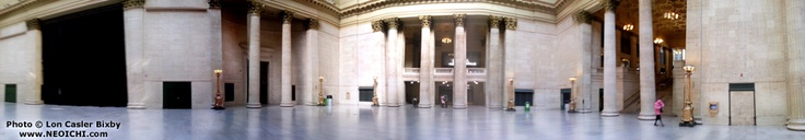 Panoramic view of the Great Hall at Union Station, Chicago. From my cross-country train trip - Photo: Lon Casler Bixby - Date: November, 2012 - Web: www.neoichi.com - Medium: Cell Phone Photography - Print Size: Various - Limited Edition: Yes - CFP - Copyright - All Rights Reserved