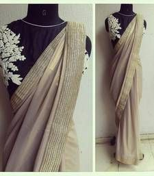 Buy chiku embroidered faux georgette saree with blouse party-wear-saree online
