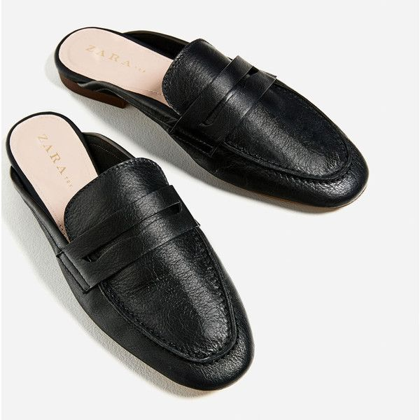 LEATHER MULE LOAFERS - Flats-SHOES-WOMAN | ZARA United States (65 CAD) ❤ liked on Polyvore featuring shoes, loafers, flats loafers, flat pump shoes, leather mule shoes, loafer shoes and leather loafer shoes