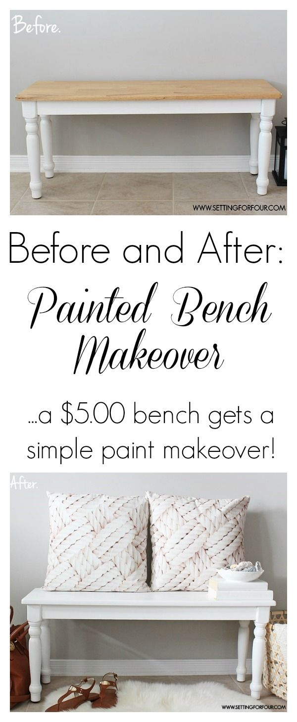 $5.00 Thrift Store Painted Bench Makeover - Before and After with Chalky Finish Paint! | www.settingforfour.com