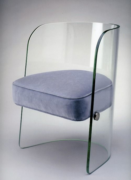 Chair, Louis Dierra Glass with synthetic upholstery, Pittsburgh Plate Glass Co., c. 1939 Exhibited at the 1939 New York World's Fair