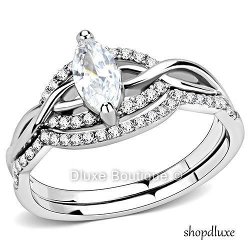 WOMEN/'S SILVER STAINLESS STEEL PRINCESS CUT CZ ENGAGEMENT WEDDING RING SIZE 5-10
