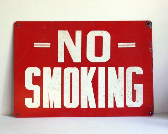 Vintage No Smoking Sign Enamel Steel Industrial by CalloohCallay, $68.00