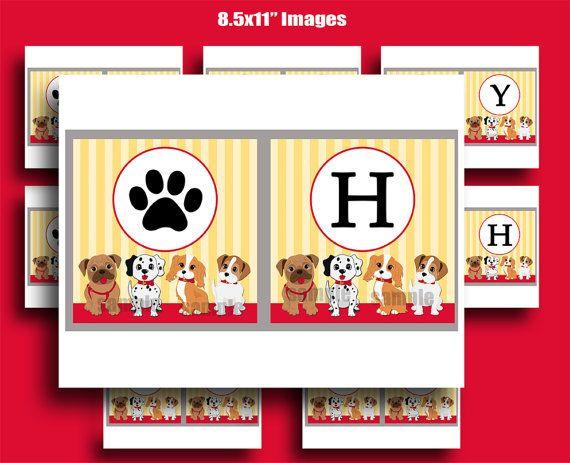 Puppy Dog Happy Birthday Banner Printable  Puppy by ThatPartyChick, $9.50