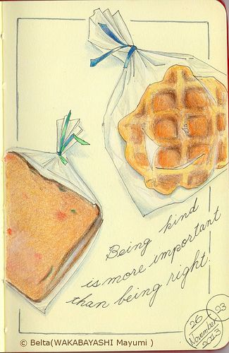 2013_11_26_waffle_01_s my friend Haruko gave me some cake. Thank you,Haruko! for this drawing I used: Faber castell polychromos Moleskine sketchbook © Belta(WAKABAYASHI Mayumi )