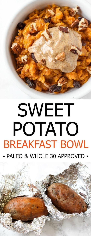 Frühstücks Bowl mit Süßkartoffel. Süßes Rezept mit Süßkartoffeln, leckere Bowl mit Pecans und Rosinen.