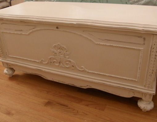 Cedar Chest Off White Shabby Chic Farmhouse Hope Redo Painted Toy