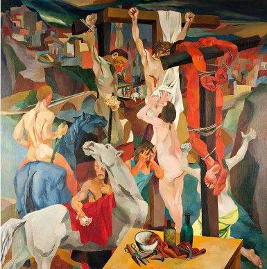 Renato Guttuso, Crocifissione, 1940-1. Olio su tela, cm 200 x 200. Galleria Nazionale d'Arte Moderna, Roma