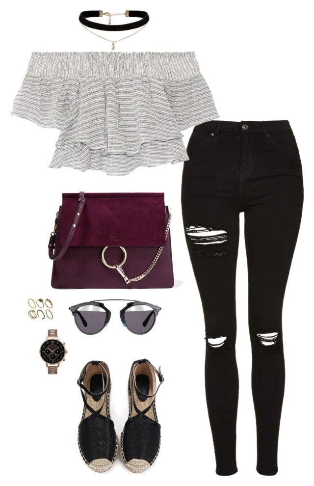 """""""Untitled #2236"""" by andreagm ❤ liked on Polyvore featuring Topshop, Apiece Apart, Chloé, Christian Dior, ASOS and Olivia Burton"""