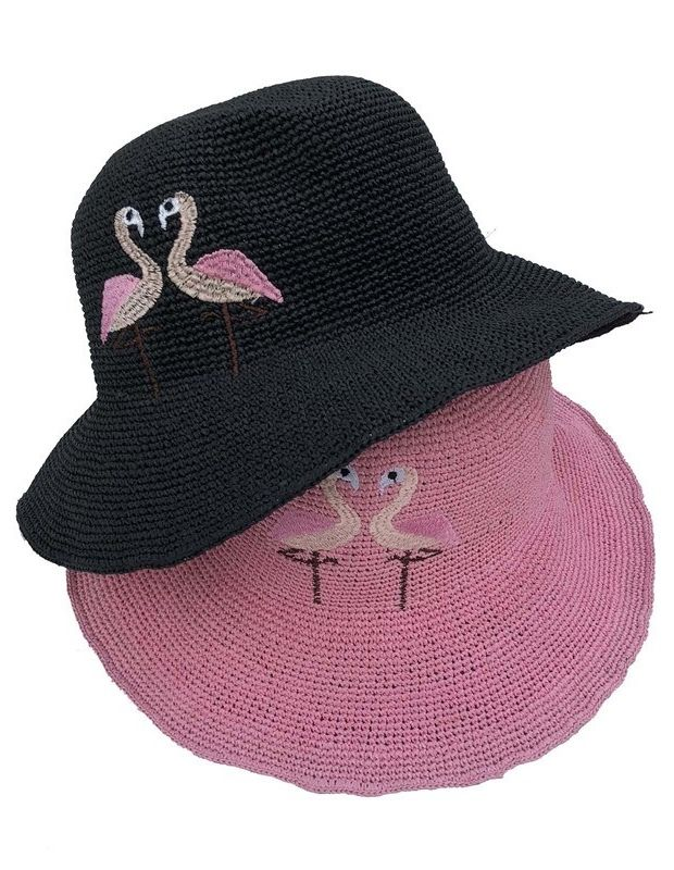 Women s Pink Flamingo Design Wide Brim Straw Hat in pink 86079fdc87