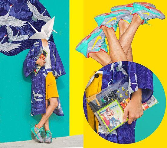 Suzuya Crane Printed Kimono, Zara Yellow Shorts, Klear Klutch Transparent Clear Clutch, Nike Colorblocking Basketball Sneakers