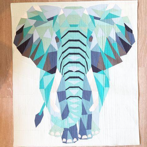 Foundation Paper Piecing und Straight Line Quilting der Elefant nach einen Schnittmuster von Violetcraft