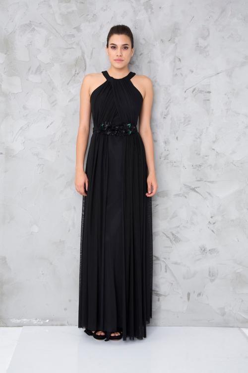 Siyah Çiçek Kemerli Uzun Abiye Elbise - Fotoğraf