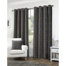 66x54in (168x137cm) Palma Floral Charcoal Grey Eyelet Curtains